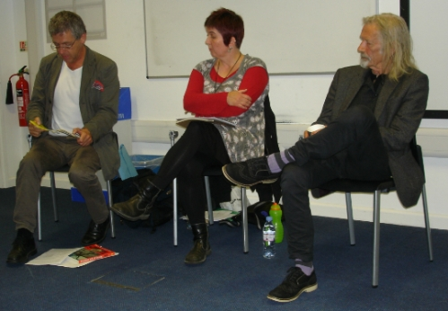 George McKay (left), Sarah McHendry and Penny Rimbaud