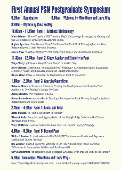 Punk Scholars' Network - Post-Graduate Symposium - 30 October 2014 - Programme - papers and presentations