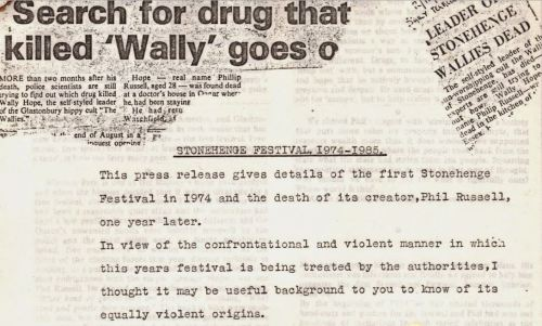 Penny Rimbaud - Wally Hope - press release - 1985