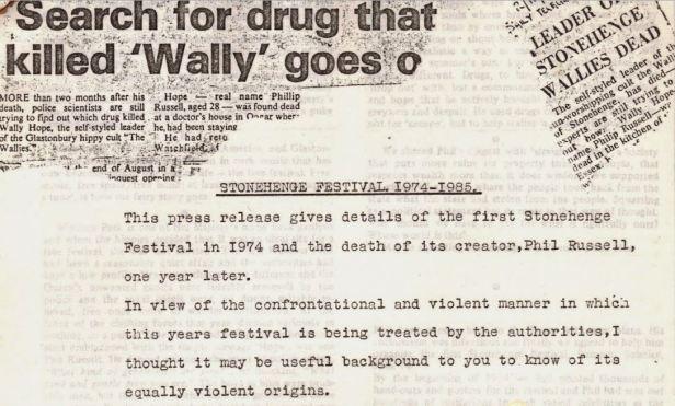 Penny Rimbaud - Wally Hope - press release - 1985