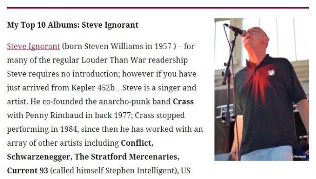 Steve Ignorant - top 10 albums