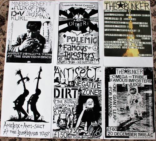 Posters from gigs at The Bunker