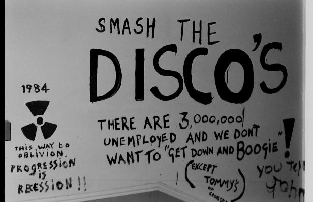 'Smash the Discos' graffiti, The Bunker, Green Terrace, 1982