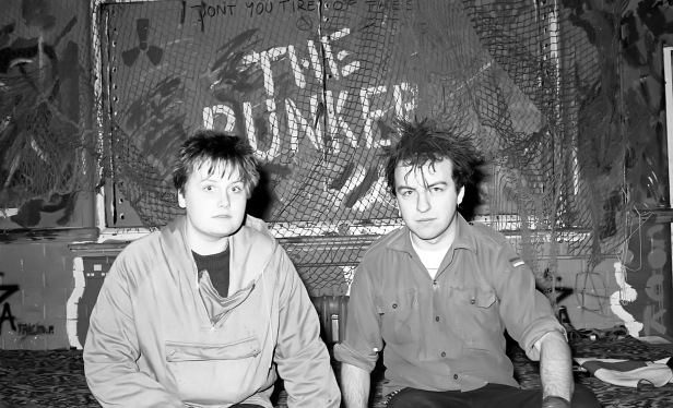 Jo Campbell and Paul Maven at opening night of The Bunker, Green Terrace, 1982