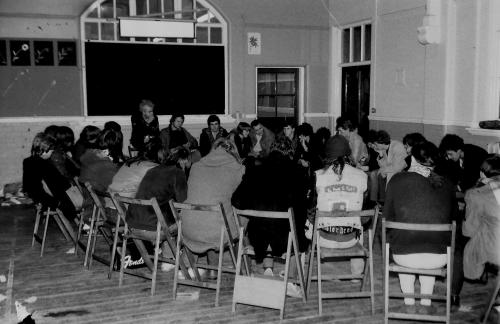 Sunderland Musicians' Collective meeting at The Bunker, Green Terrace, 1982. Photo by Mick Catmull