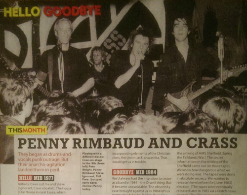 Penny Rimbaud and Crass - Mojo - October 2017