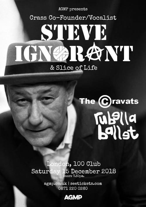 Slice of Life - The Cravats - Rubella Ballet - 100 Club, London, 15 December 2018 - Slice of Life poster