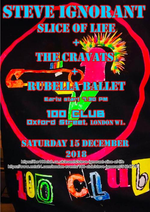 Slice of Life - The Cravats - Rubella Ballet - 100 Club, London, 15 December 2018 - Rubella Ballet poster