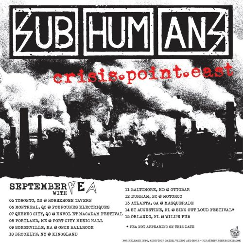 Subhumans - Crisis Point album tour - US and Canada dates