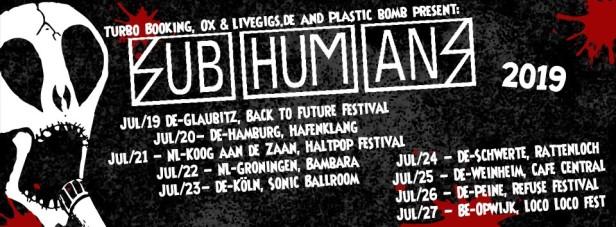 Subhumans - tour dates - July 2019