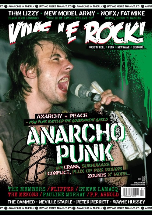 Cover of Vive Le Rock - with anarcho-punk cover advertising features inside