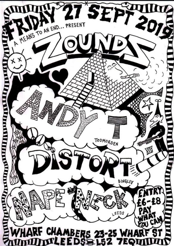 Zounds, Andy T, Distort and Nape Neck play Leeds on 27