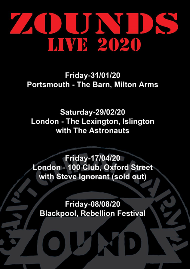 Zounds live gigs in 2020