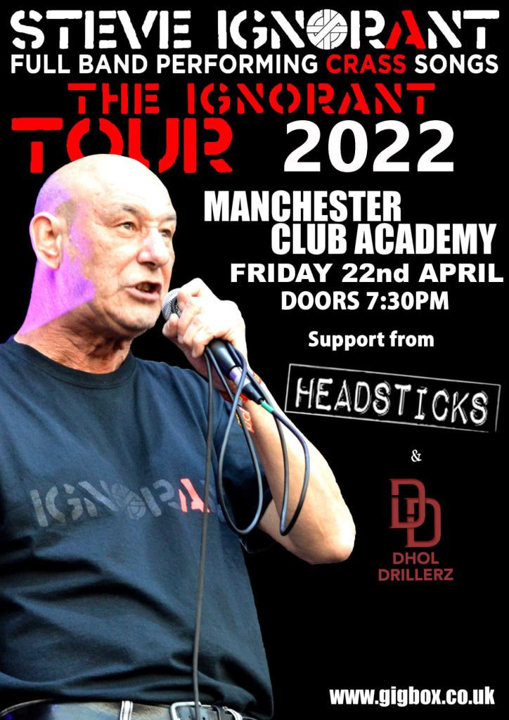 Steve Ignorant - The Ignorant Tour dates - moved to 2021 - Manchester gig poster, 22 April 2022