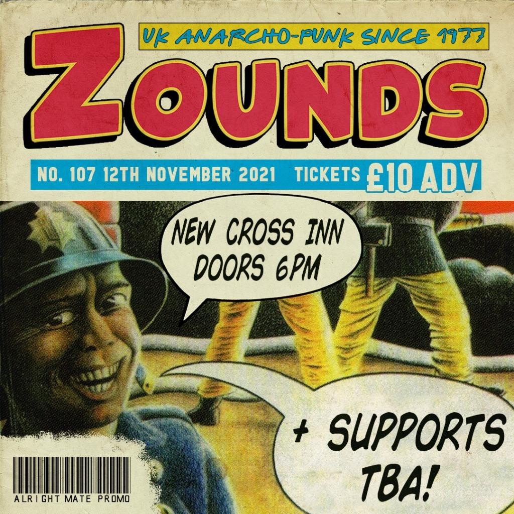 Zounds gig poster, New Cross Inn, 12 November 2021