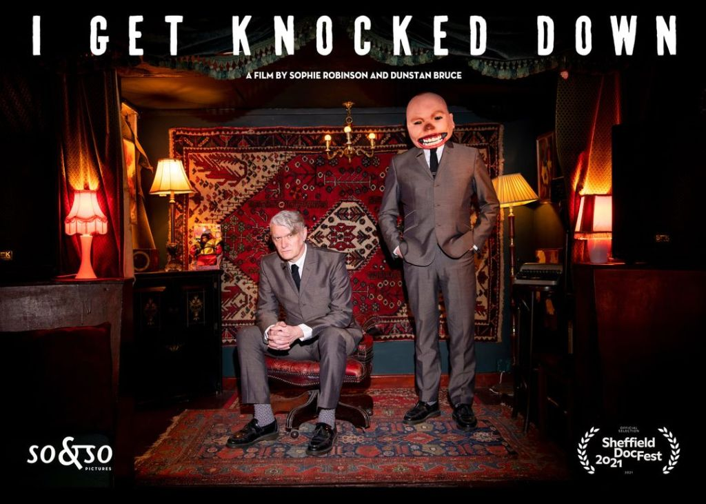 Poster for I Get Knocked Down a film about Chumbawamba by Sophie Robinson and Dunstan Bruce