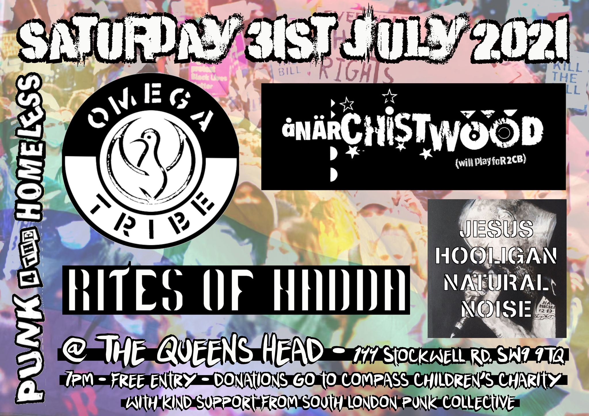 Poster for Omega Tribe, Anarchistwood, Rites of Hadda and Jesus Hooligan Natural Noise gig London 31 July 2021