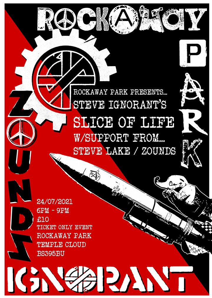 Poster for Slice of Life and Steve Lake gig, Rockaway Park, Temple Cloud, 24 July 2021