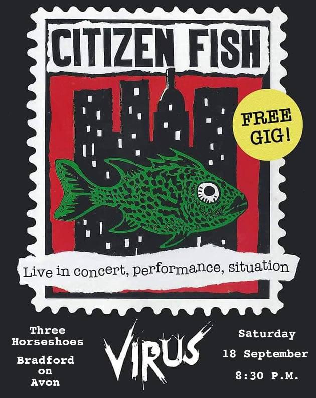 Citizen Fish and Virus - live in Bradford-on-Avon, 18 September 2021 - poster (second version)