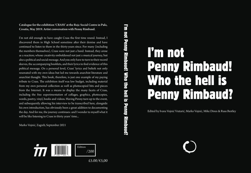 Front and back cover of I'm not Penny Rimbaud! Who the hell is Penny Rimbaud, published by Itchy Monkey Press in 2021